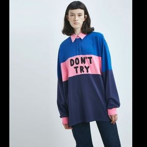 Lazy Oaf DON'T TRY RUGBY JERSEY Sz OS
